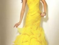 Sar� Renk Abiye Elbise Modeli