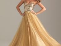 Altın Sarısı Balo Kıyafeti