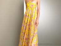 Ask�l�  Yazl�k Sar� Elbise Bayan Giyim