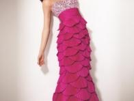 Balık Fırfırlı Pembe Elbise Modeli