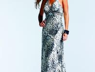 Gümüş Rengi Leopar Desenli Elbise