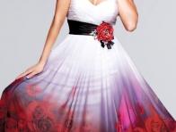 K�rm�z� G�l Desenli Beyaz Elbise