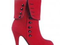 Kırmızı Renkli Topuklu Kısa Botlar