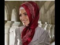 Kırmızı Tekbir Giyim Eşarp Modeli