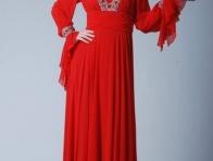 Kırmızı Tesettür Gece Kıyafeti Modeli
