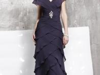 Lacivert Fırfırlı Abiye Elbise