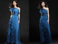 Mavi F�rf�rl� Abiye Elbise
