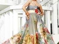 Papatya-G�l Desenli Canl� Renkli Elbise