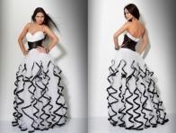 Siyah-Beyaz F�rf�rl� Kabar�k Elbise