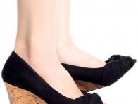 Siyah Dolgu Topuk Bayan Ayakkabıları