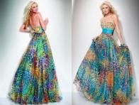 Rengarenk Uzun elbise