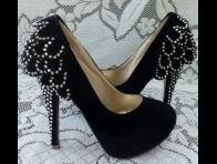 Ta�l� Siyah Renk Y�ksek Topuklu Ayakkab�