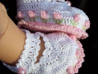Çiçekli Dantel Bebek Patikleri